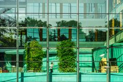 Comfortable office building view through the glass wall Royalty Free Stock Image