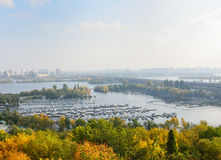 Comfortable piers and islands of Dniper in Kyiv. Stock Photos