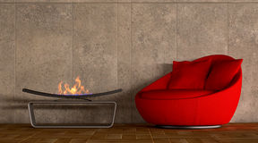 Comfortable red sofa with fireplace Stock Photo