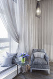 Comfortable room corner, two chair and tea table by the window Royalty Free Stock Photos