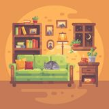 Comfortable room interior with books and a cat sleeping on a sofa. Cozy evening at home vector illustration