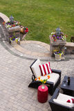 Comfortable Seating on Luxury Stone Patio Royalty Free Stock Photography