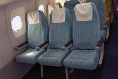 Comfortable seats in aircraft Stock Photos
