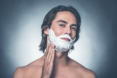 Comfortable shaving. royalty free stock photo