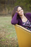 Comfortable Smiling Young Woman Stock Photos