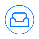 Comfortable sofa, armchair circular line icon. Round colorful sign. Flat style vector symbol. Royalty Free Stock Photos
