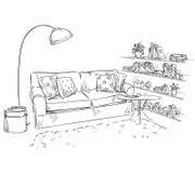 Comfortable sofa, lamp and bookshelves. Hand drawn interior element. Comfortable sofa, lamp and bookshelves stock illustration