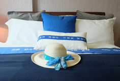 Comfortable soft bed in room Stock Image