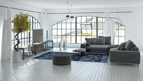 Comfortable spacious grey and white living room Royalty Free Stock Photo