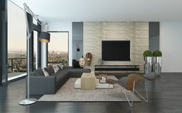 Comfortable spacious modern living room interior Stock Photos