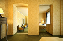 Comfortable suite, view from bedroom Stock Image
