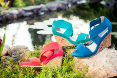 Comfortable summer sandals on nature. A Royalty Free Stock Photos