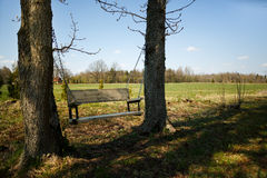 Comfortable swing bench between two trees Stock Photo