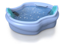 Comfortable two seater jacuzzi. Blue two seater jacuzzi with water moved by unseen hydro jets on white background Royalty Free Stock Photography