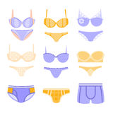 Comfortable Underwear In Pastel Colors Matching Sets Royalty Free Stock Image