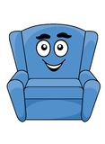 Comfortable upholstered blue armchair Stock Photo