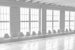 Comfortable white hall interior, minimalistic loft mockup royalty free illustration