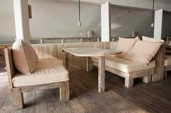 Comfortable Wooden Dining Sofa Royalty Free Stock Photos