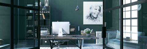 Comfortable working place, office decor. 3d render. Comfortable working place, dark green office decor. 3d render stock illustration