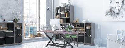 Modern scandinavian style office interior. 3d render. Comfortable working place, scandinavian office decor. 3d render Royalty Free Stock Photography