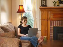 Comfortably Working Hard From Home Royalty Free Stock Photos