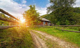 Comfortanle nicei house at the summer meadow. Summer landscape,. Beautiful nature Stock Photos