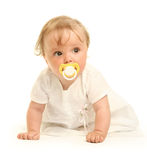 Comforter. Cute little girl on white Stock Images