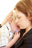 Comforting with comforter. Mother comforts her young son Royalty Free Stock Photo