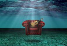 Comfortstoel met Viool Stock Afbeeldingen