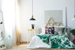 Comfy bedroom with soothing colors Stock Image