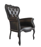 Comfy black leather office or royal armchair Stock Photos