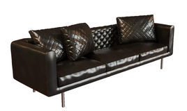 Comfy black leather three place sofa. 3D photorealistic image of a black leather three place sofa, isolated against a white background Stock Image