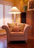 Comfy Designer Chair. Sitting inside a home stock images