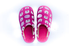 Comfy Home Shoes. A pair of fluffy and comfy open indoor slippers Royalty Free Stock Image