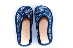 Comfy Home Shoes. A pair of fluffy and comfy open indoor slippers Royalty Free Stock Photo