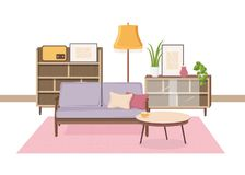 Comfy interior of living room full of Soviet furniture and retro home decorations - cozy couch, coffee table stock illustration