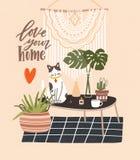 Comfy pokój z stołem, kota obsiadanie na nim, puszkować rośliny, domowe dekoracje i Kochamy Twój Domowego zwrot pisać z kursywnym royalty ilustracja