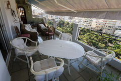 Comfy terrace, Athens in the morning Royalty Free Stock Photo