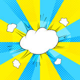 Comic action bubble on blue and yellow background  illustration Stock Photos