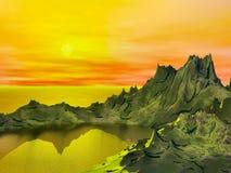 Comic alien sunset. Alien landscape with comic book look Stock Images