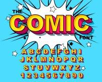 Comic Alphabet. Retro pink. Letters, numbers for kids illustrations,. Websites, comics, banners. Vector Comic alphabet. Pop-art Cartoon ABC Lettering Font royalty free illustration