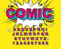 Comic Alphabet. Retro pink. Letters, numbers for kids illustrations,. Websites, comics, banners. Vector Comic alphabet. Pop-art Cartoon ABC Lettering Font stock illustration