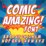 Comic alphabet set. Letters, numbers and figures for kids' illustrations, websites, comics, banners. Stock Images