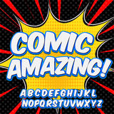 Comic alphabet set. Letters, numbers and figures for kids illustrations, websites, comics, banners Stock Photography