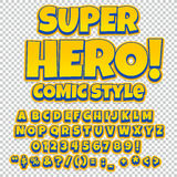 Comic alphabet set. Letters, numbers and figures for kids` illustrations. Websites comics banners vector illustration