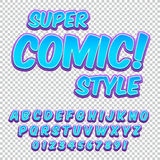 Comic alphabet set. Letters, numbers and figures for kids` illustrations, websites, comics, banners Stock Photography