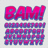 Comic alphabet set. Letters, numbers and figures for kids` illustrations, websites, comics, banners Royalty Free Stock Photo