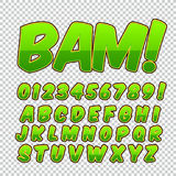 Comic alphabet set. Letters, numbers and figures for kids` illustrations websites comics banners. Royalty Free Stock Photo