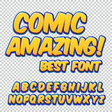 Comic alphabet set. Letters, numbers and figures for kids` illustrations websites comics banners. Royalty Free Stock Photography