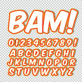 Comic alphabet set. Letters, numbers and figures for kids` illustrations websites comics banners. Stock Photography